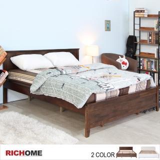 【RICHOME】北歐浪漫環保簡約橡膠木6呎大雙人床(2色)