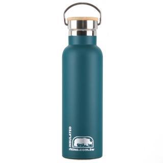 【犀牛RHINO】Vacuum Bottle雙層不鏽鋼保溫水壺600ml-清綠(竹片蓋)