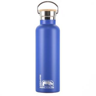 【犀牛RHINO】Vacuum Bottle雙層不鏽鋼保溫水壺750ml-莓藍(竹片蓋)