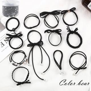 【卡樂熊】日韓系簡約珍珠飄帶罐裝12入髮束(三色)