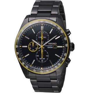 【SEIKO 精工】潮流時尚太陽能計時腕錶(V176-0AZ0SD SSC729P1 黑黃)