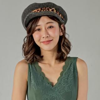 【Wonderland】豹紋金屬貝雷帽(深灰)