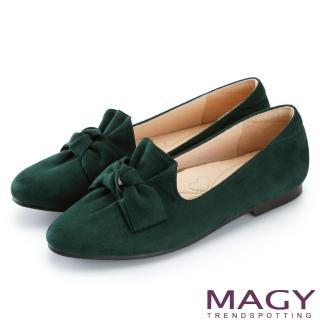 【MAGY】復古上城女孩 抓皺蝴蝶結平底鞋(綠色)