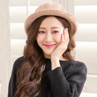 【Wonderland】韓版復古百搭羊毛盆帽(卡其)