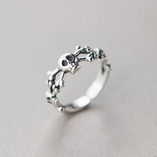 【梨花HaNA】韓國泰銀天生酷我骷髏開口戒指