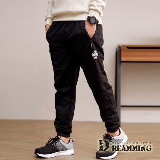 【Dreamming】簡約皇冠束口內磨毛休閒運動長褲(黑色)