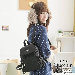 【DF Queenin】MIT輕旅行尼龍防潑水後背包-小-共3色