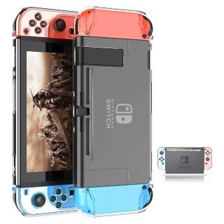 【G-TOP】任天堂Switch副廠全包透明水晶保護殼 免拆殼設計Joy-Con可分離 PC透明硬殼 防摔防指紋