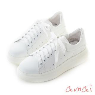 【amai】撞色真皮空氣小白鞋(白)