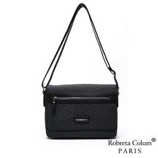 【Roberta Colum】雅痞牛皮掀蓋橫式斜背側背包