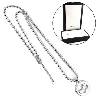 【GUCCI 古馳】Interlocking G 925純銀雙G墜飾珠珠長版項鍊