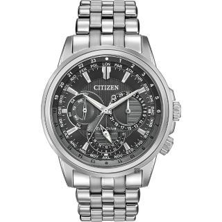 【CITIZEN 星辰】光動能日曆手錶-灰x銀/44mm(BU2021-51H)