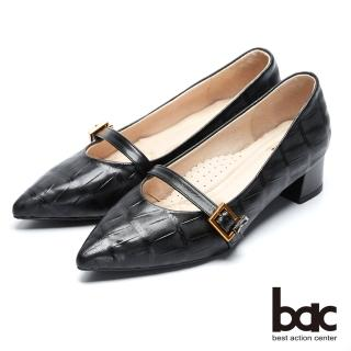 【bac】經典回歸-特殊壓紋復古瑪莉珍尖頭粗跟高跟鞋(黑色)