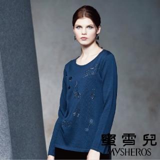 【mysheros 蜜雪兒】刺繡鑽音符針織上衣(藍)