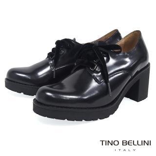 【TINO BELLINI 貝里尼】西班牙進口珠光元素綁帶粗跟鞋A79021A(炫光黑)