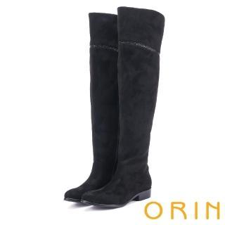 【ORIN】微醺性感 燙鑽彈性絨布過膝低跟長靴(黑色)
