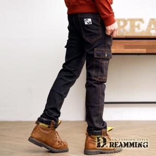 【Dreamming】玩酷多袋魔鬼氈縮口牛仔工作長褲(黑色)