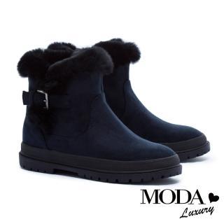 【MODA Luxury】簡約釦帶裝飾兔毛點綴厚底短靴(藍)