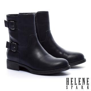【HELENE SPARK】經典率性俐落金屬釦繫帶粗跟短靴(藍)