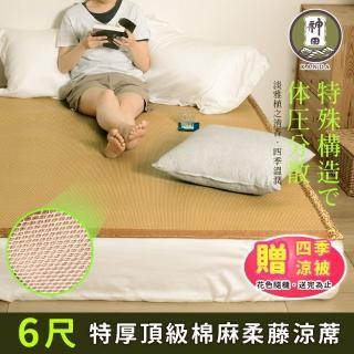 【神田職人】3D頂級特厚 柔藤 透氣涼蓆-B 棉麻 床蓆 不夾髮膚 熱銷涼蓆推薦(雙人加大6尺)