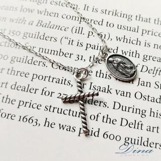 【DINA 蒂娜珠寶】復古十字架 925純銀項鍊(FCG6956)