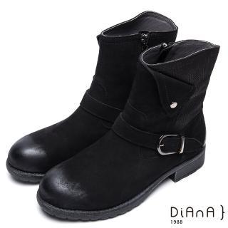 【DIANA】簡約率性-方釦反摺編織紋拼接真皮工程靴(黑)