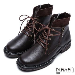 【DIANA】復古英倫-英挺牛皮x麂皮異材質拼接綁帶短靴(咖)