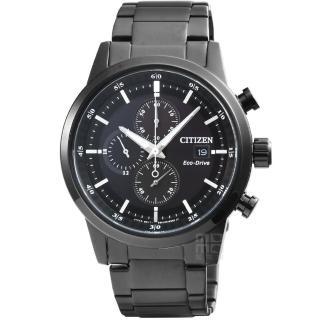 【CITIZEN 星辰】星辰光動能賽車計時錶-IP黑(CA0615-59E)