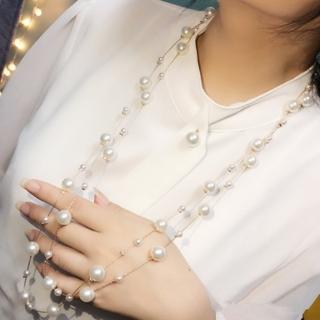 【梨花HaNA】韓國浪漫女爵雙層珍珠毛衣鍊長項鍊