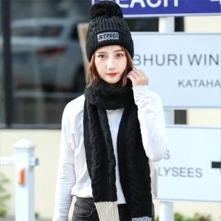 【Acorn*橡果】韓系撞色加絨毛帽+露指手套圍巾1815(兩件組-黑色)