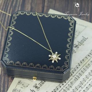【Turquoise Jewelry】輕珠寶訂製系列小奢華裸空雪花天然淡水珍珠S925銀鍍金項鍊(tqst0005)