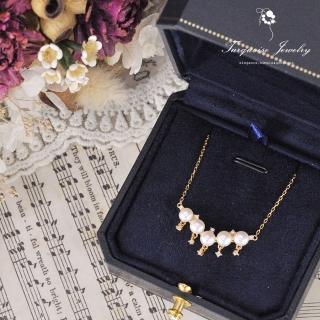 【Turquoise Jewelry】輕奢名媛風格天然淡水珍珠細緻鋯石S925銀鍍金鎖骨項鍊(tqsu0017)