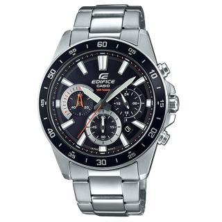 【CASIO 卡西歐】EDIFICE 時尚三眼男錶 不鏽鋼錶帶 黑 防水100米(EFV-570D-1A)
