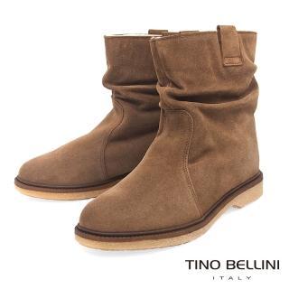 【TINO BELLINI 貝里尼】義大利進口自然抓皺內鋪毛平底中筒靴B79207(駝)
