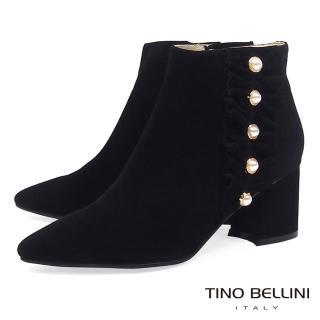 【TINO BELLINI 貝里尼】浪漫抓摺鑲珍珠全真皮高跟短靴A79058(黑)