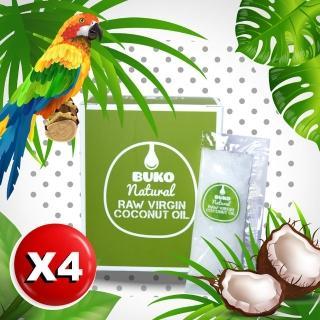【BUKO】純天然冷壓初榨椰子油x4盒(懶人隨身包-防彈咖啡必備)
