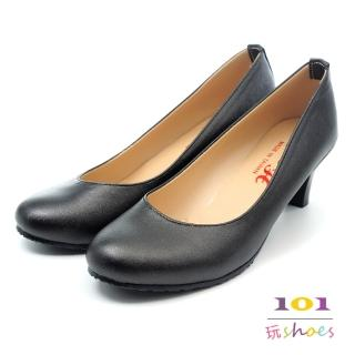 【101玩Shoes】mit.OL鍾愛款.素雅低跟美鞋(黑色.35-40碼)