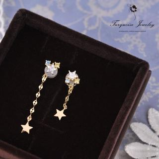 【Turquoise Jewelry】甜美氣質星星圖騰鋯石S925銀鍍金耳環(tqsm0005)