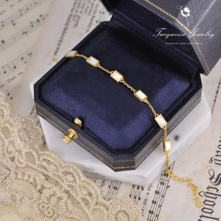 【Turquoise Jewelry】輕珠寶系列優雅白色方塊天然白蝶貝S925銀鍍金手鍊(tqst0004-white)