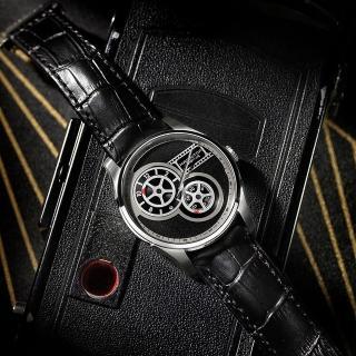 【HAMILTON 漢米爾頓】JAZZMASTER 非對稱復古電影膠捲盤機械錶-黑/42mm(H42605731)