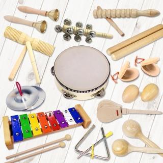 【美佳音樂】奧福打擊樂器/兒童樂器 13件組-原木色(含袋)