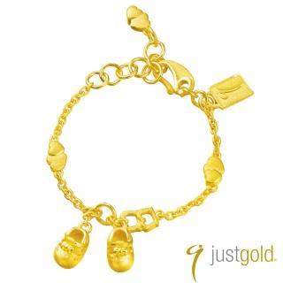 【Just Gold 鎮金店】彌月純金系列 黃金手鍊-Baby花鞋(女生)