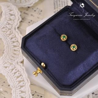 【Turquoise Jewelry】文藝復興vintage裸空綠鋯石S925銀鍍金耳環(tqsu0003)