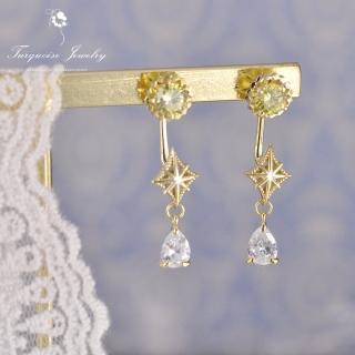 【Turquoise Jewelry】輕珠寶系列宇宙中的星軌綠色鋯石S925銀鍍金耳+耳環組(tqsh0006)
