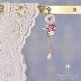 【Turquoise Jewelry】輕珠寶系列氣質立體花朵鋯石S925銀鍍金耳夾/耳針兩用式耳環/單支(tqsh0018)