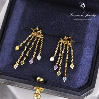 【Turquoise Jewelry】甜美可愛宇宙的流星鋯石S925銀鍍金細緻耳環(tqsm0014)
