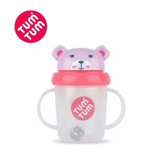 【TUM TUM】小熊貝琪-頭蓋型防漏學習水杯(粉)