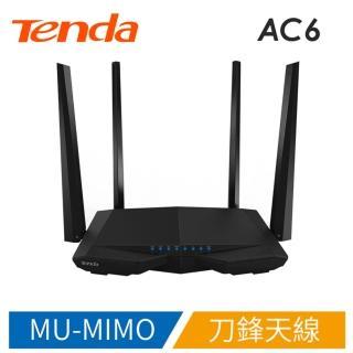 【Tenda 騰達】AC6v2 1200M 極速雙頻 刀鋒戰機(MU-MIMO、Beamforming+免安裝 寬頻帳號自動遷移)