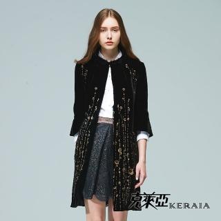 【KERAIA 克萊亞】金屬花藤絲絨長版外套