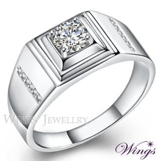 【WINGS】誰與爭鋒 八心八箭方晶鋯石美鑽925純銀精鍍白K金戒指(情人 聖誕 男戒 擬真鑽)